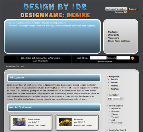 JTL Shop Template IDR Desire Screenshot