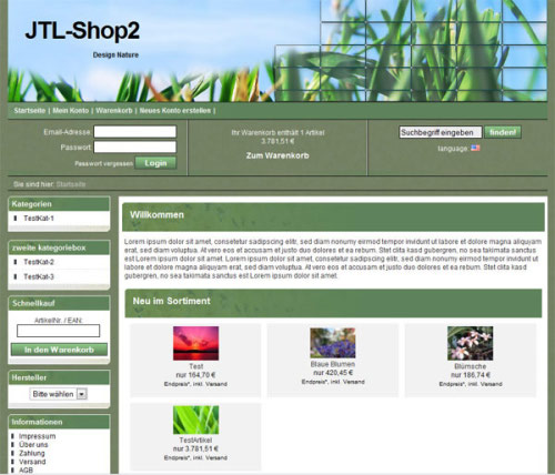JTL Shop Template IDR Nature Screenshot